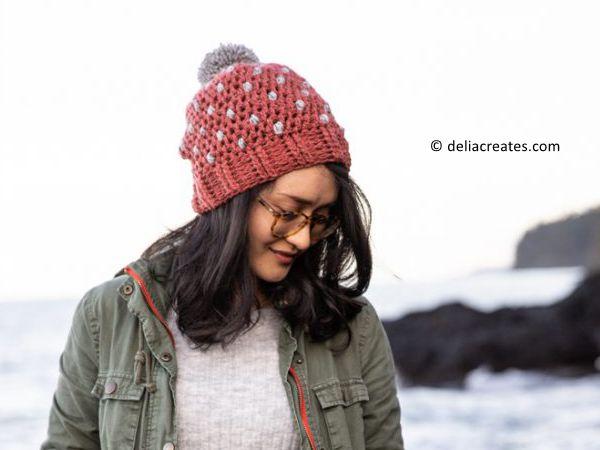 Puff Dot Crochet Beanie