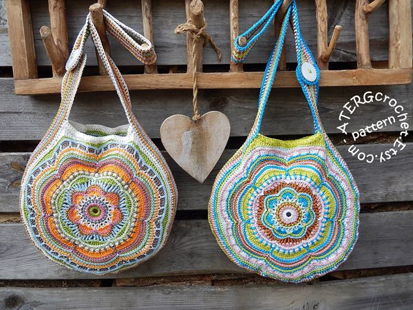 Crochet pattern Boho Flower Slouch Bag