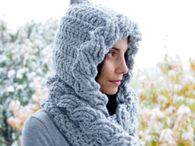 Cable Pixie Hood Scarf