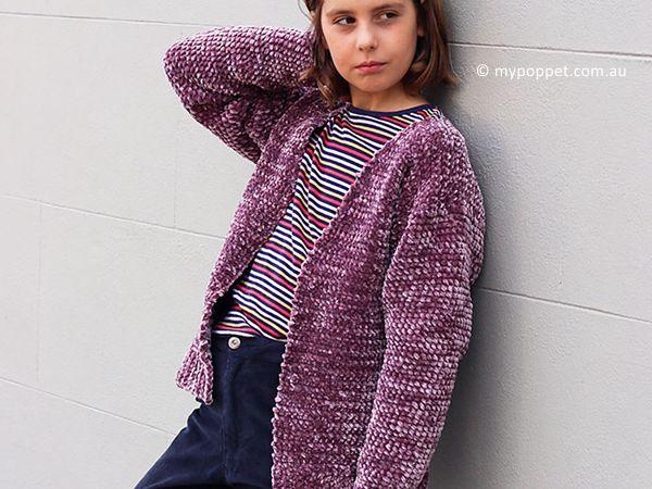 Girl's Velvet Cardigan