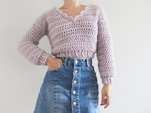 Chunky Cropped Crochet Sweater