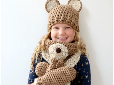 Honey Bear Hat, Cowl & Mitten Set