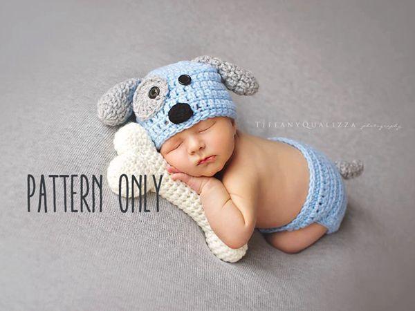 Newborn Puppy Hat and Diaper Cover Set