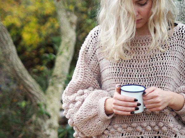 Crochet Diamonds and Bobbles Jumper