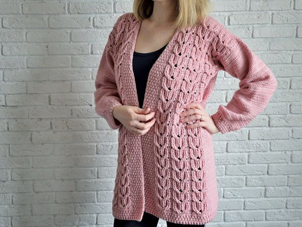 Cable Crochet Women Cardigan