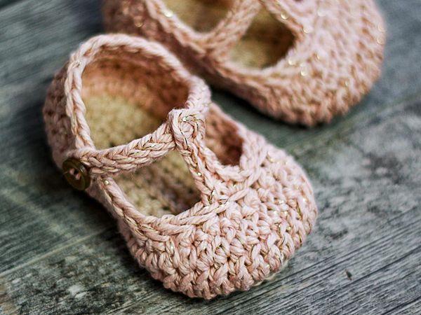 Crochet Tali T-strap Baby Booties free pattern