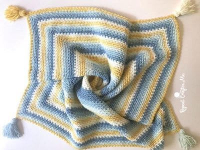 crochet Moss Stitch in a Square Blanket free pattern