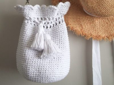 crochet Scallop Bucket Bag free pattern