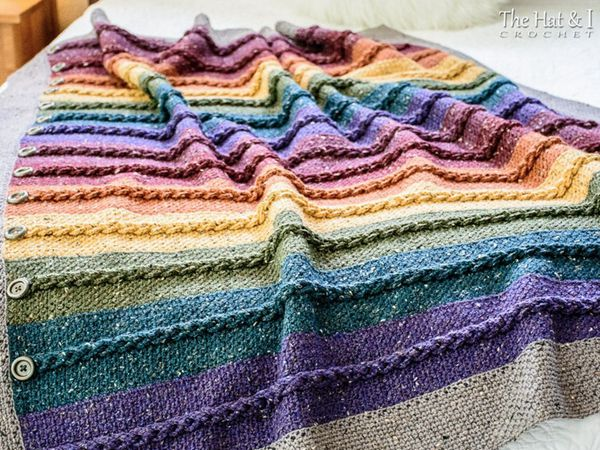 crochet Buttons Braids Blanket pattern
