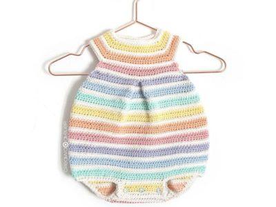 Crochet Rainbow Romper free pattern