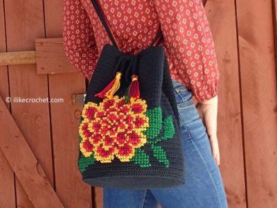 crochet Marigold Bucket Bag free pattern