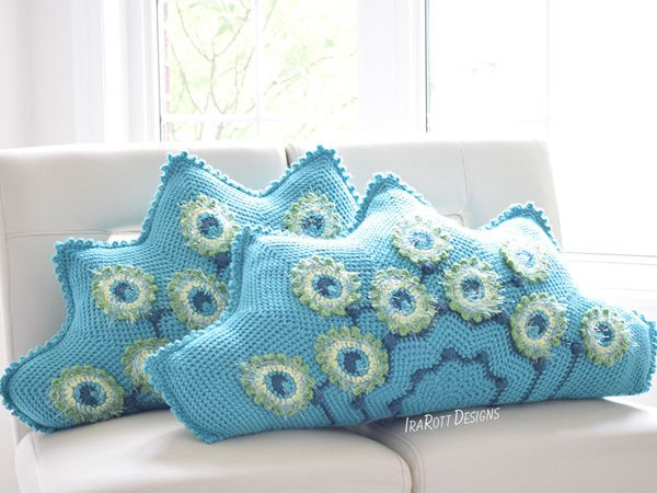 crochet Pavo the Peacock Pillow free pattern