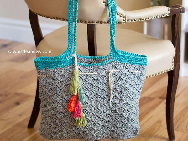 crochet Raffia Shells Tote free pattern