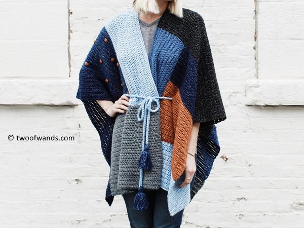 crochet Shades of Indigo Poncho free pattern