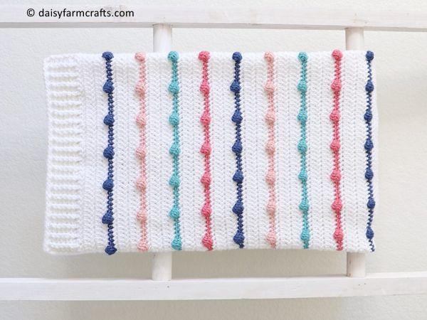 crochet Bobble Lines Baby Blanket free pattern