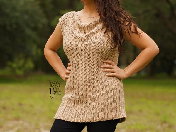 crochet Cowl Neck Tee free pattern