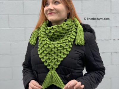 crochet Mermaid Triangle Scarf free pattern