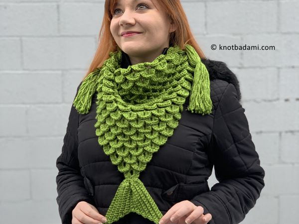 crochet Mermaid Triangle Scarf free pattern