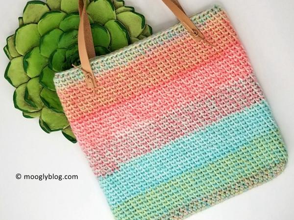 crochet Sherbet Stripes Tote free pattern
