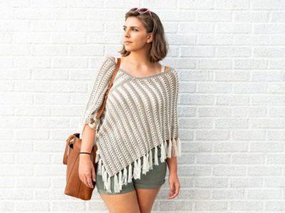 crochet Striped Duo Poncho free pattern