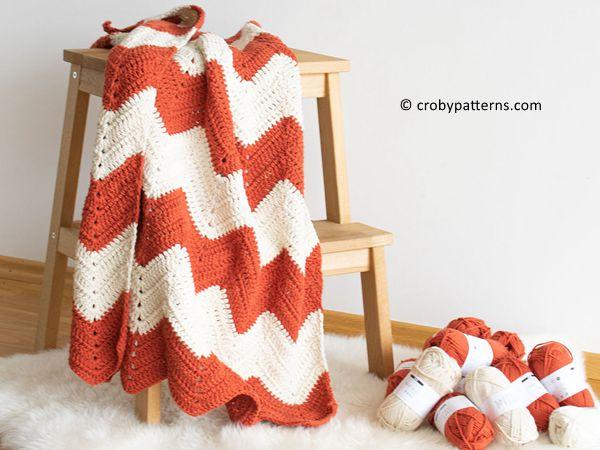 crochet Zig Zag Chevron Blanket free pattern