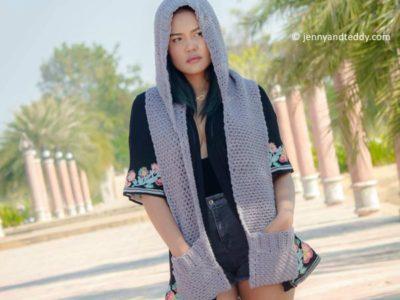 crochet Chloe hooded pocket scarf FREE pattern