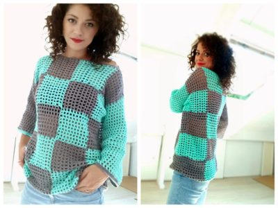 crochet Plaid Summer Sweater free pattern