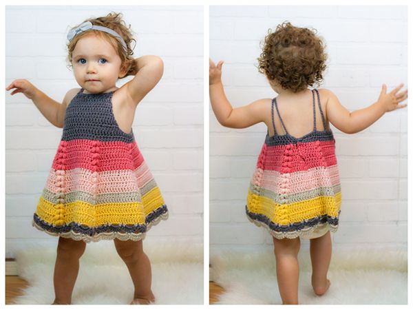 crochet Puff Stitch Toddler Dress free pattern