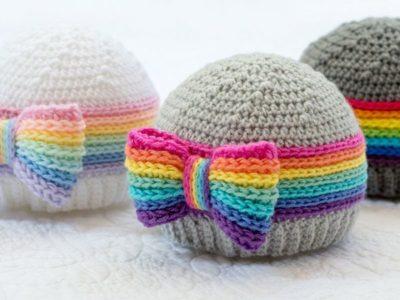 crochet Rainbow Reflections Beanie pattern
