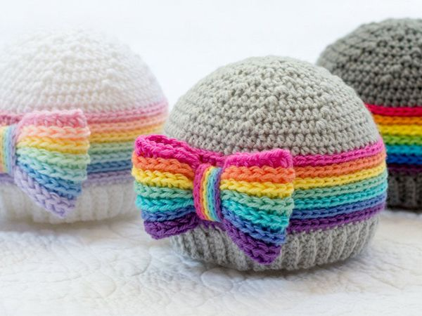 crochet Rainbow Reflections Beanie pattern