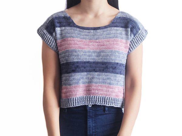 crochet Riviera Stripe Tee free pattern