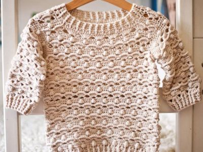 crochet Waves and Bobble Sweater pattern