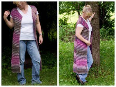 crochet Wildflower Pool Cardi Vest free pattern