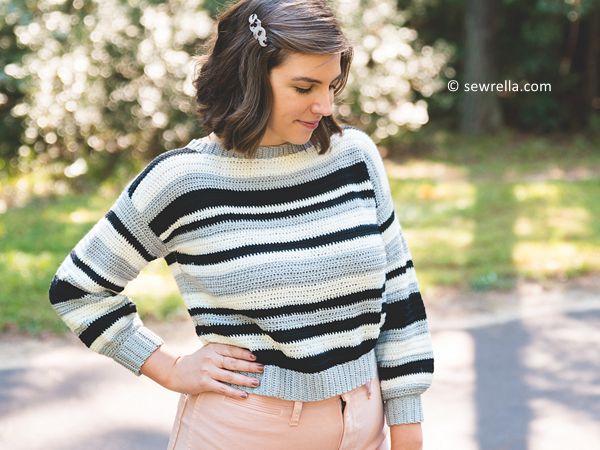 Crochet Monochrome Sweater free pattern