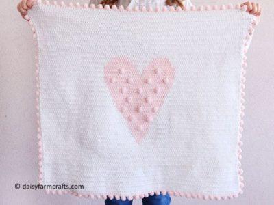 Crochet Polka Dot Heart Doll Blanket
