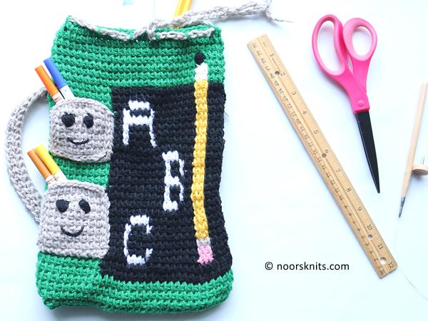 crochet Back 2 School Tunisian Bag free pattern