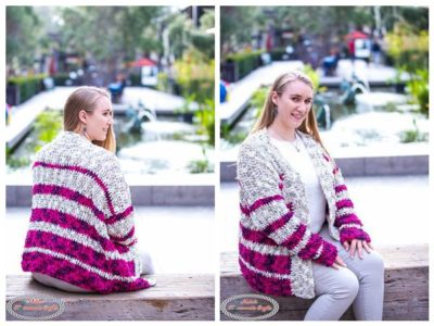 crochet Striped Velvet Cardigan free pattern