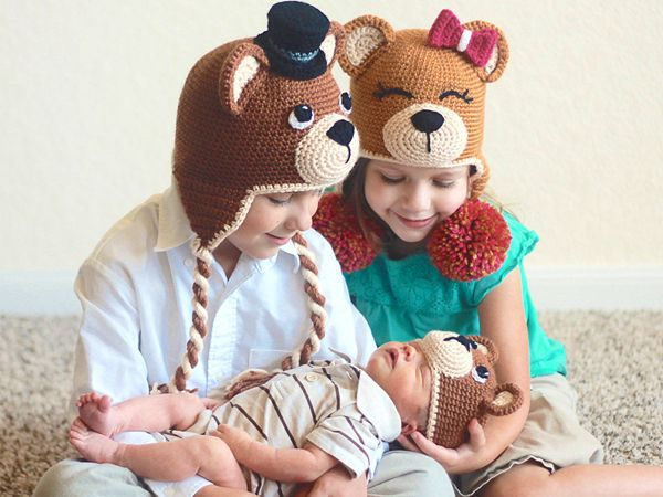 crochet Teddy Bear Animal Beanie easy pattern
