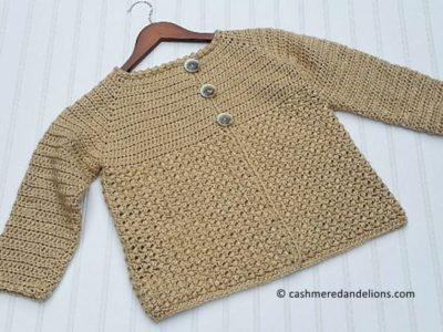 crochet Textured 3-Button Cardigan free pattern