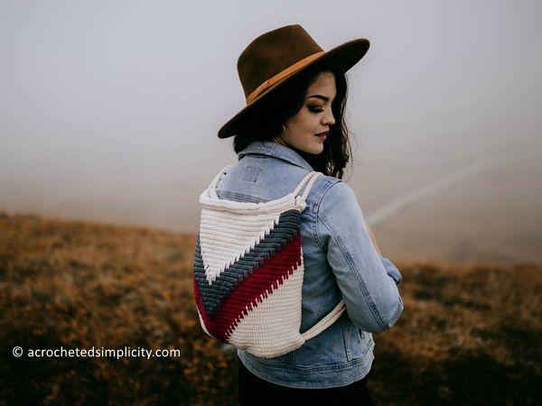 crochet Wanderlust Chevron Backpack free pattern