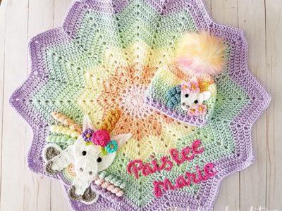 crohet Unicorn lovey blanket free pattern