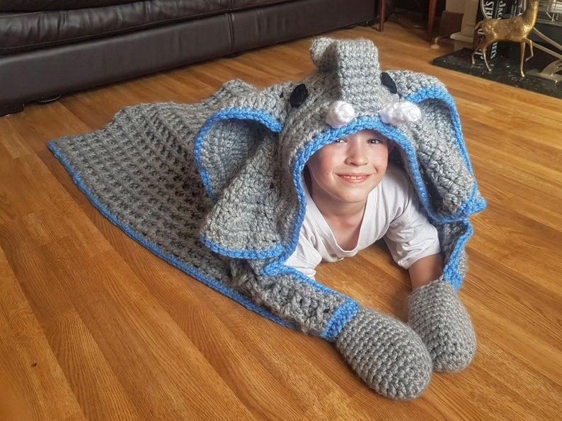 2 in 1 Elephant Hooded Blanket