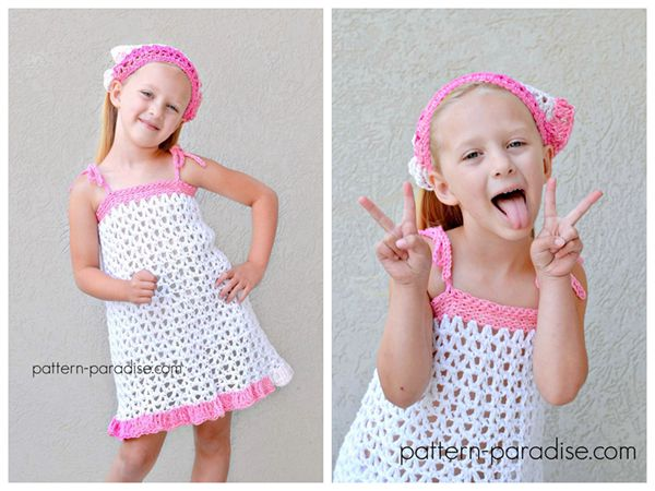 free crochet Summer Cheer Dress and Kerchief Set free pattern