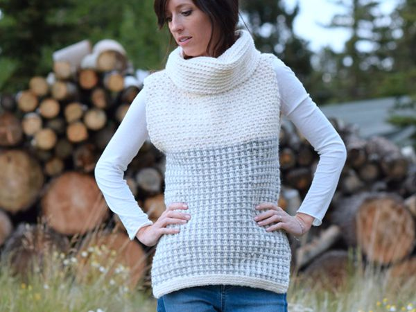 CROCHET Cowled Sweater Vest FREE PATTERN