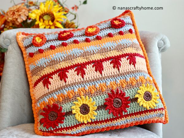 crochet Autumn Rhapsody Pillow free pattern