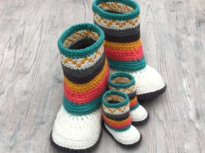 crochet Fair Isle Mukluk Booties easy pattern