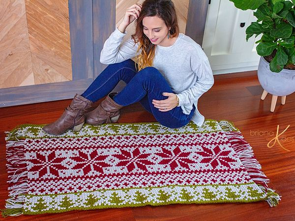 crochet Holiday Fair Isle Rug free pattern