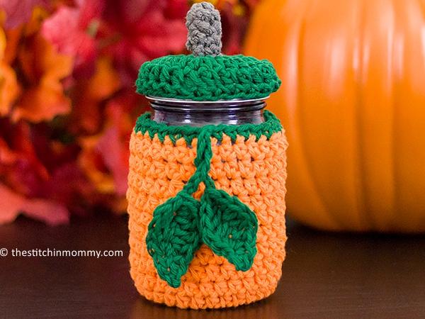 crochet Pumpkin Mason Jar Cozy free pattern