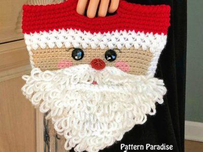 crochet Santa Basket or Bag free pattern