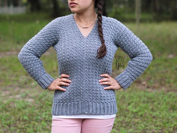 crochet Textured Pullover free pattern